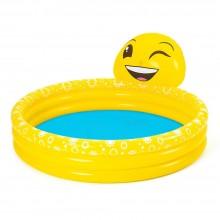 Bestway 53081 L 1.65m x W 1.44m x H 69cm Emoji Kiddie Inflatable Pool Safety Valves Kids New