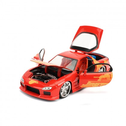 Jada 1:24 Fast & Furious Die-Cast Julius 1993 Mazda RX-7 FD3S Orange Model Collection