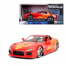Jada 1:24 Fast & Furious Die-Cast Julius 1993 Mazda RX-7 FD3S Orange Model Collection