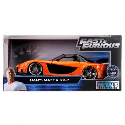 Jada 1:24 Fast & Furious Die-Cast Han's Mazda RX-7 Tokyo Drift Orange Model Collection