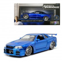 Jada 1:24 Fast & Furious Die-Cast Brian's Nissan Skyline GT-R BNR34 Blue Model Collection