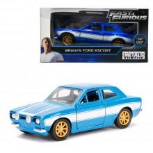 Jada Fast & Furious 1:32 Diecast Brian's Ford Escort Car Blue Model Collection