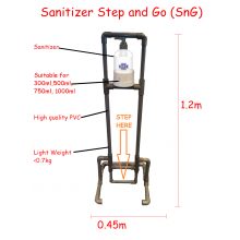 Non-Contact Hand Sanitizers Stand Step and Go Sanitizer Stand Touch Free Mechanism Machines, Avoid Hand Touch, No COVID 19, Kill Virus, Bateria , Germ