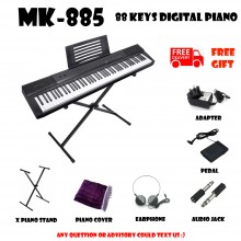 MK-885 Black 88 Keys Digital Piano Electronic Keyboard Free X Stand Musical Instruments