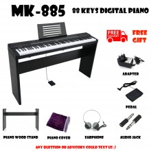 MK-885 Black 88 Keys Digital Piano Electronic Keyboard Free Wood Stand Musical Instruments