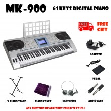 MK-900 Silver 61 Keys Digital Piano Electronic Keyboard Free X Stand Musical Instruments