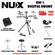 NUX DM-1 Portable Digital Electrical Drum Kit Silver Free Bluetooth Speaker Musical Instruments