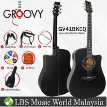 "Groovy GV41BKEQ 41"" Dreadnought Acoustic Electric Guitar With ALT-1 Pickup Package Ebony Black (GV Series)"