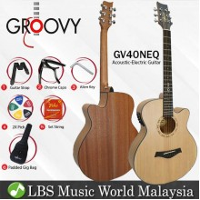 "Groovy GV40NEQ 40"" Concert Acoustic Electric Guitar With ALT-1 Pickup Package Natural (GV Series)"