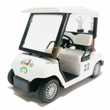 Kinsfun 5 inch Die-cast Golf Cart Car Model with Box Collection Pull Back White