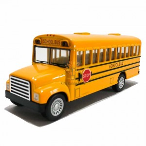 Kinsfun 5 inch Die-cast School Bus Model with Box Collection Pull Back Yellow