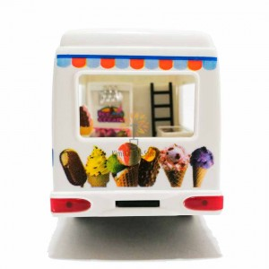 Kinsfun 5 inch Die-cast Ice Cream Truck Model with Box Collection Pull Back White