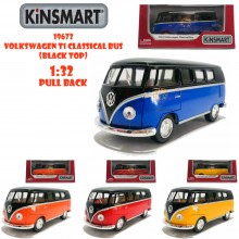 Kinsmart 1:32 Die-cast 1962 Volkswagen T1 Classical Bus Black Top Car Model with Box Collection Pull Back