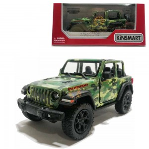 Kinsmart 1:34 Die-cast 2018 Jeep Wrangler Rubicon (Open Top) Camo Edition Car Model with Box Collection Pull Back