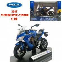 Welly 1:18 Die-cast 2017 Suzuki DSX-S1000F Motorcycle Model with Box Collection Christmas New Gift Blue