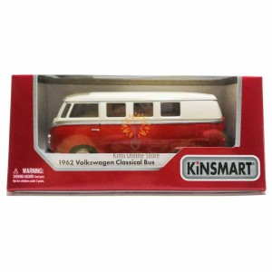Kinsmart 1:32 Die-cast 1962 Volkswagen Classical T1 Bus (Ivory Top) Car Model with Box Collection Toy