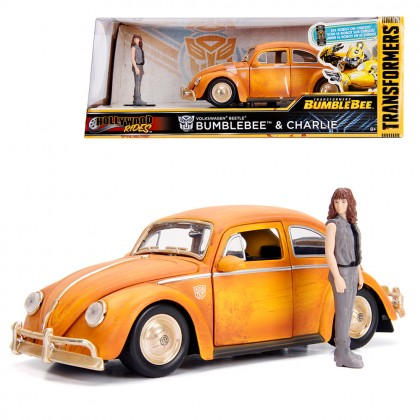 Jada 1:24 Diecast Hollywood Rides Transformers Bumblebee 1971 Volkswagen Beetle & Charlie Figure Car Yellow Model Collection