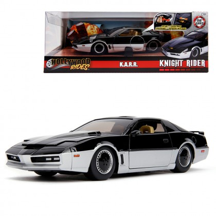 Jada 1:24 Diecast Hollywood Rides Knight Rider K.A.R.R. 1982 Pontiac Firebird Car Light Up Feature Black Model Collection