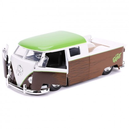 Jada 1:24 Diecast Hollywood Rides Marvel Guardians of The Galaxy 1962 Volkswagen Bus Pickup & Groot Car Brown Model Collection