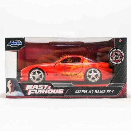 Jada 1:32 Diecast Fast & Furious Julius' 1993 Mazda RX-7 FD3S Car Orange Model Collection