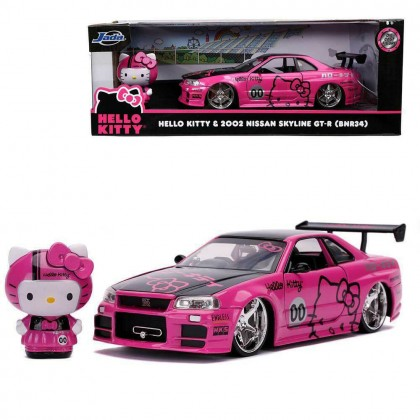 Jada 1:24 Diecast Hello Kitty 2002 Nissan Skyline GT-R R34 with 2.75 inch Hello Kitty Figure Car Pink Model Collection