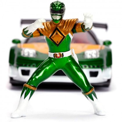 Jada 1:24 Diecast Hollywood Rides Mighty Morphin Power Rangers 2002 Honda NSX Type-R Japan Spec & 2.75 inch Green Ranger Figure Car Green Model Collection
