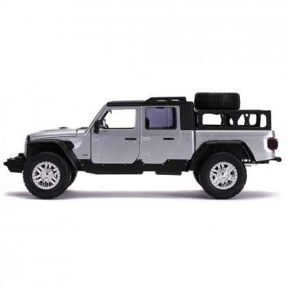 Jada 1:24 Fast & Furious F9 Die-Cast Tej's 2020 Jeep Gladiator Car Silver Model Collection