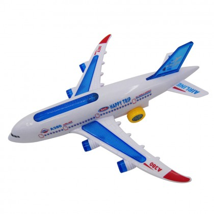 30cm Airbus A380 Plastic Toy Model Airplane Electric 360° Moving Flash Light Sound Kids