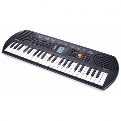 44 Key Casio SA-77 Grey Mini Electronic Keyboard Piano Organ LCD 8 Note Polyphony 100 Tones 50 Patterns 10 Song One Touch Switch
