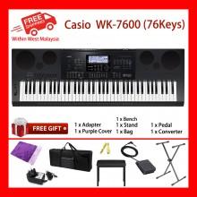 76 Key WK-7600 Casio High Grade Electronic Keyboard Piano Organ 750 Tones 500 Rawbar 250 Rhtyhms 5 Demos Layer/Split Speed Dial Tone Editor