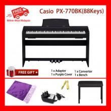 88 Key Casio PX-770 Black PRIVIA Electronic Keyboard Piano Organ Tri sensor Scaled Hammer Action Keyboard II Simulated ebony and ivory keys