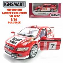 Kinsmart Die-cast car 1:36 Mitsubishi Lancer Evolution VII WRC Red Model Friction Toys with Box Collection Christmas Gift