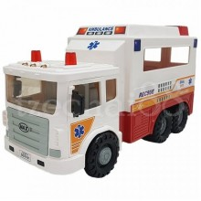 Daesung Door Openable Max Ambulance Rescue Truck White Made in Korea Friction Toys DS-957-1