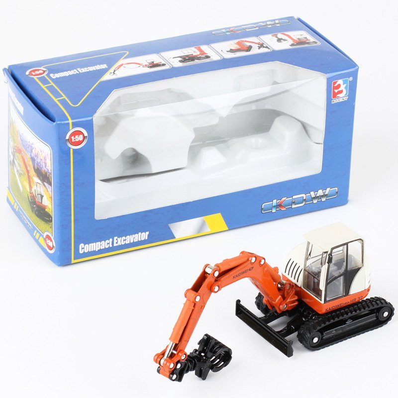 Kaidiwei 1:50 Die Cast Compact Excavator Truck Orange Metal Model Collection