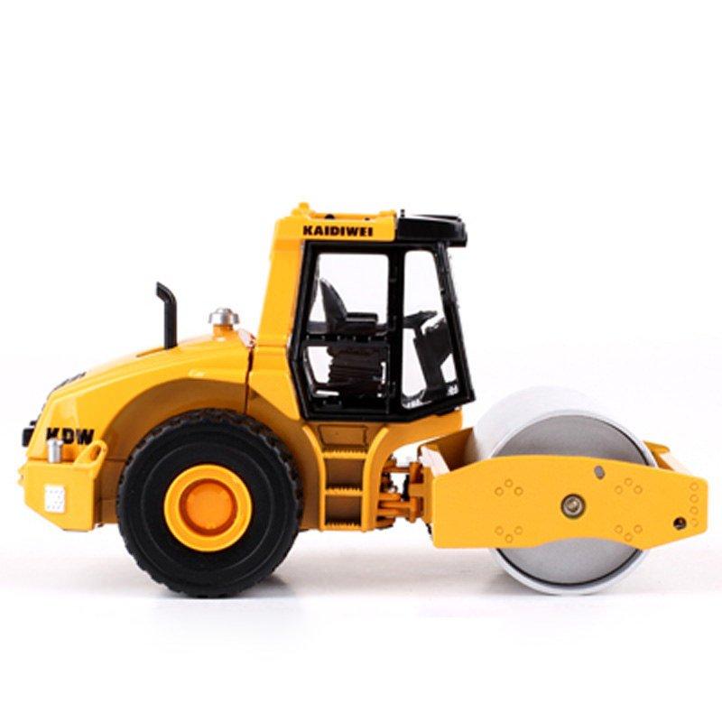 Kaidiwei 1:50 Die Cast Single Drum Roller Truck Yellow Color Metal Model