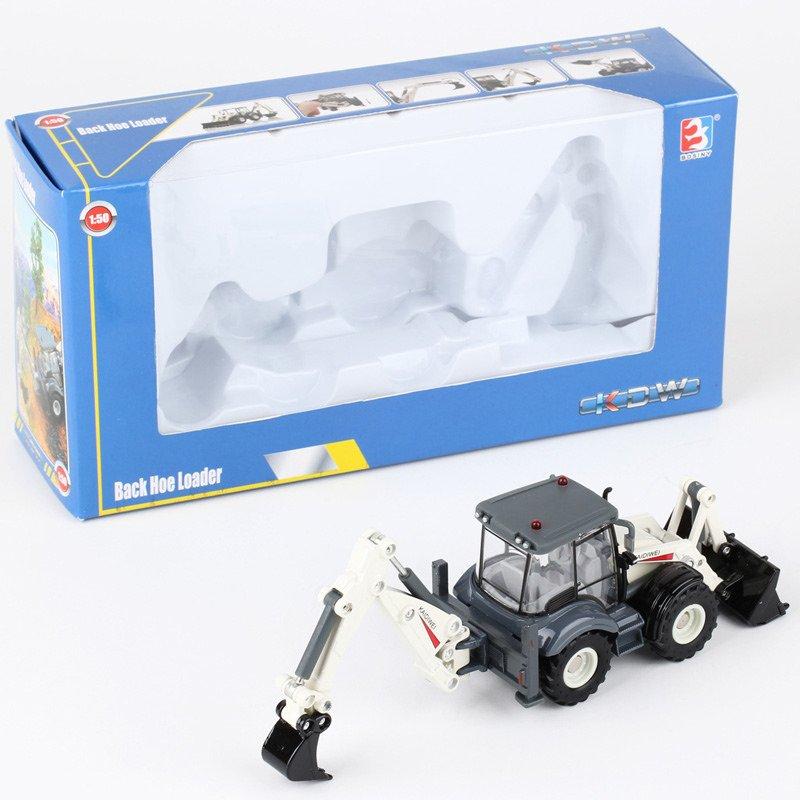 Kaidiwei 1:50 Die Cast Backhoe Loader Truck White Color Metal Model