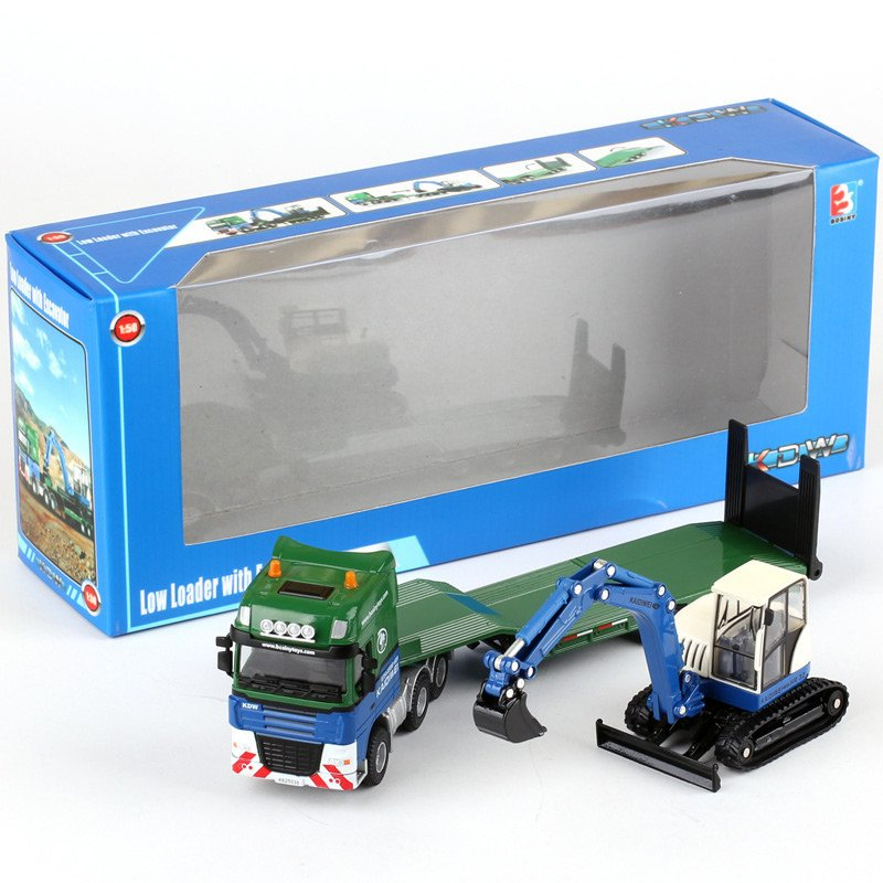 Kaidiwei 1:50 Die Cast Low Loader With Excavator Truck Green Color Metal Model