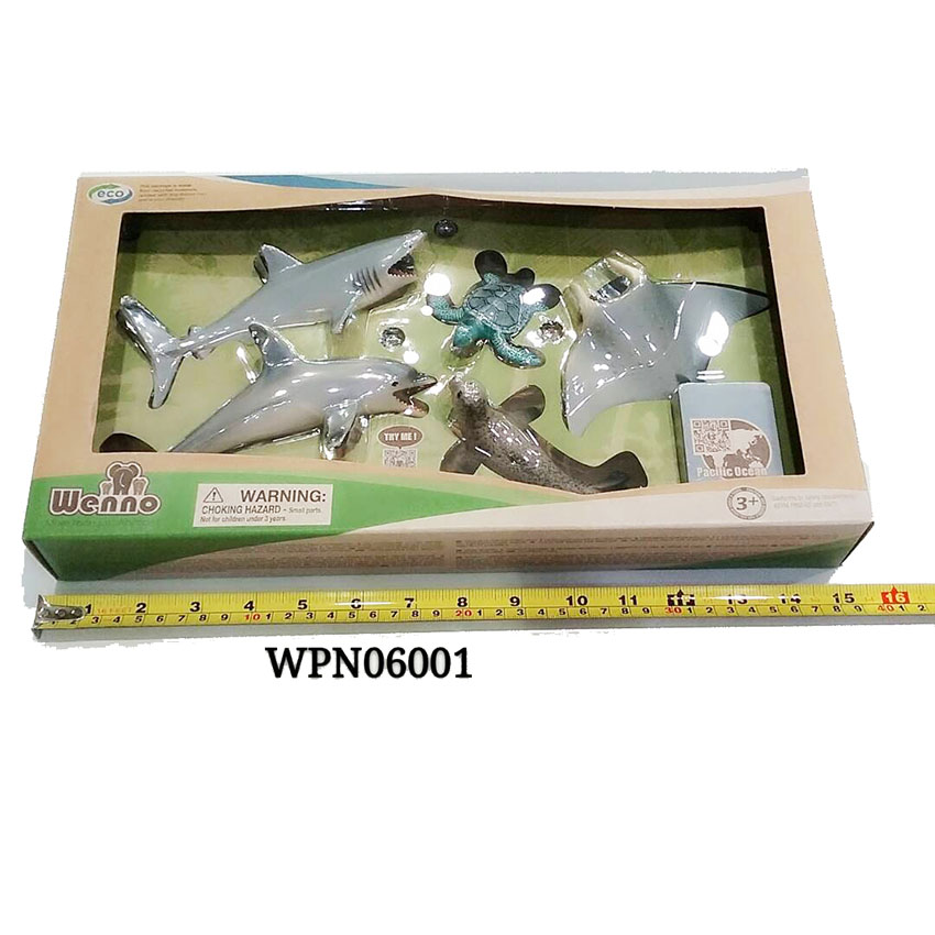 Pacific ocean Animal Wenno Eco Play-set Manta Ray Turtle Dolphin Shark Non-Toxic