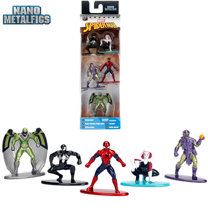 Nano Metal 5 figures Marvel Spider-Man Black Costume, Gwen, Vulture Green Goblin