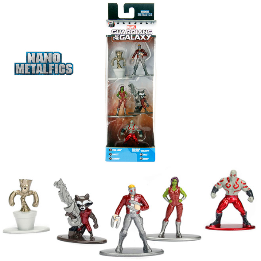 Nano Metal Diecast Marvel Guardians 5 figures Star-Lord Rocket Gamora Drax Groot