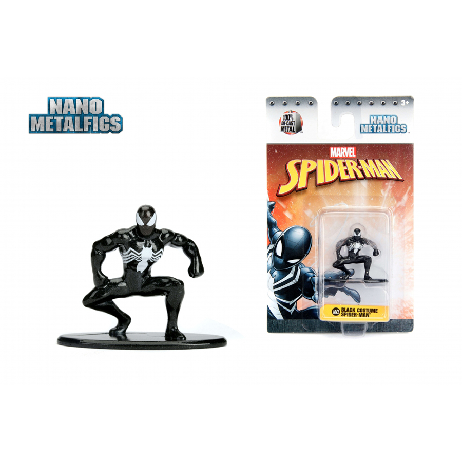 JADA 1.65'' Nano Metalfigs Marvel Spider-Man Black Costume Action Figure Diecast