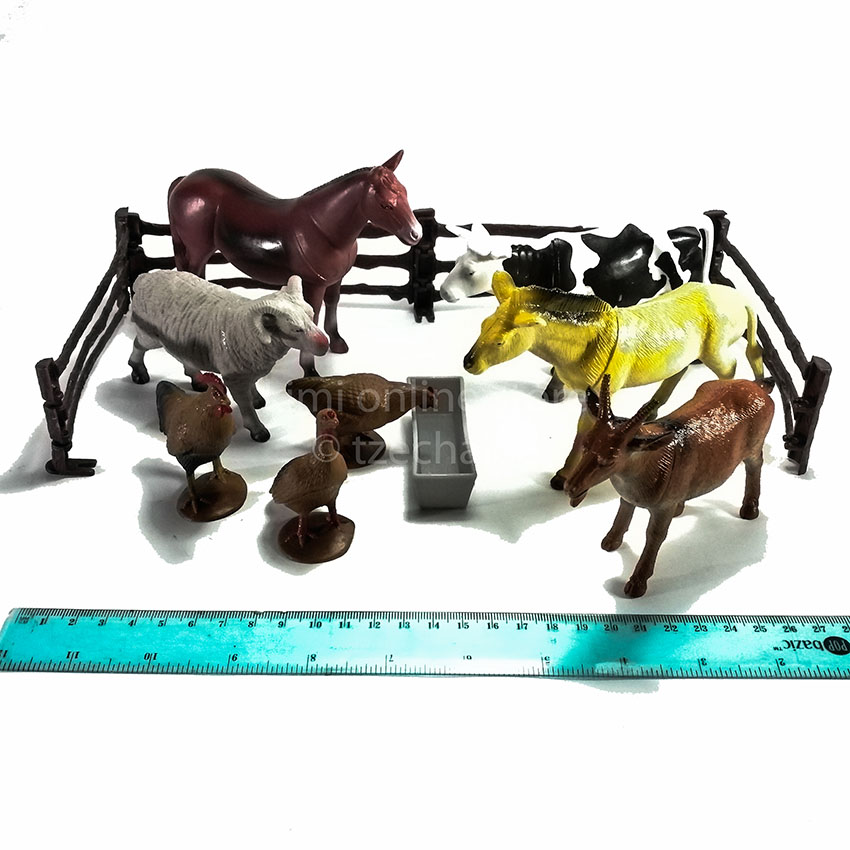 13 pcs Country Animal Cylinder Green Cow Goat Donkey Genuine Authentic Gift New