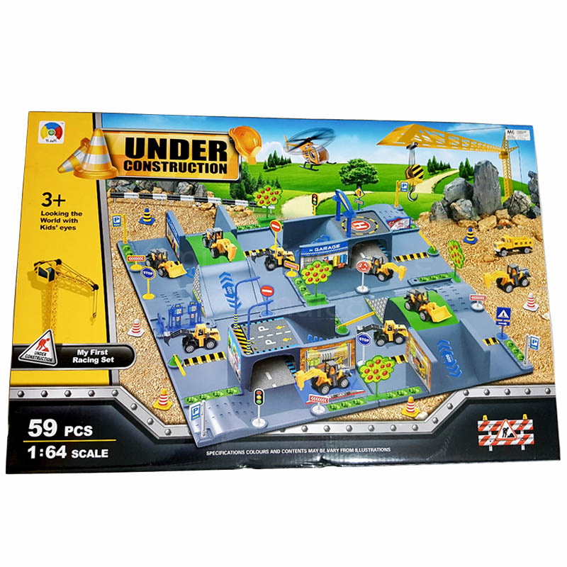 3D Construction 59pcs play set 1:64 Crane Plane Truck bulldozer Crawler Heli toy