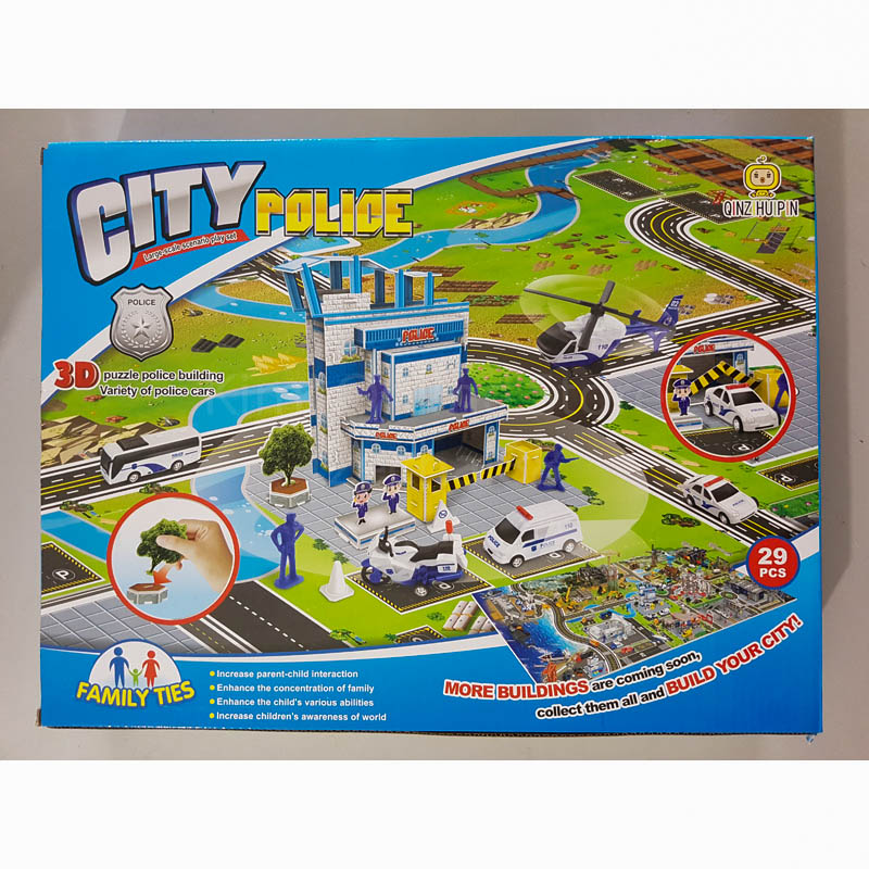 3D Toys City Police Play Set 29pcs Helicopter Motorbike Mini Figure Model Blue