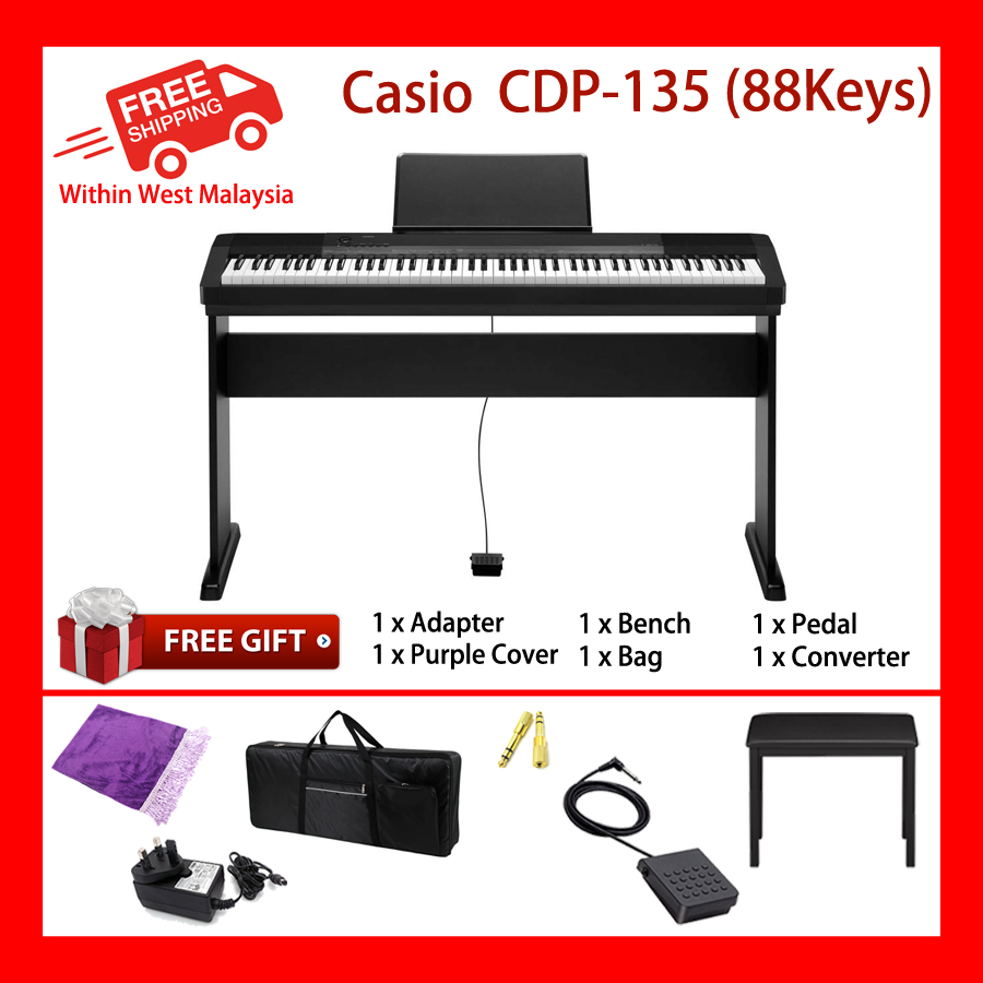 88 Keys Casio CDP-135 Digital Electronic Keyboard Piano Organ 10 built in tones
