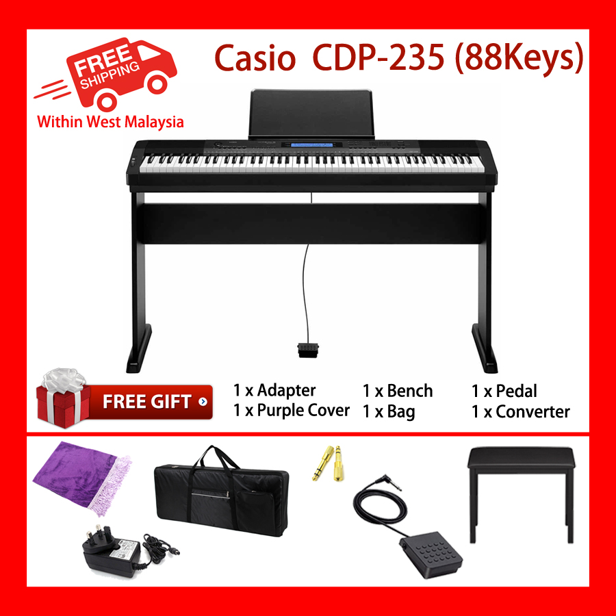 88 Keys Casio CDP-235R Digital Electronic Keyboard Piano Organ Dual-element AHL