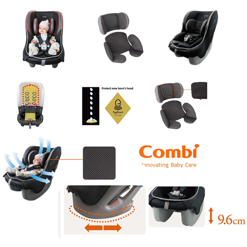 Washable And Removable Cover Harness Pads Combi Coccoro EG UB Black Car Seat
