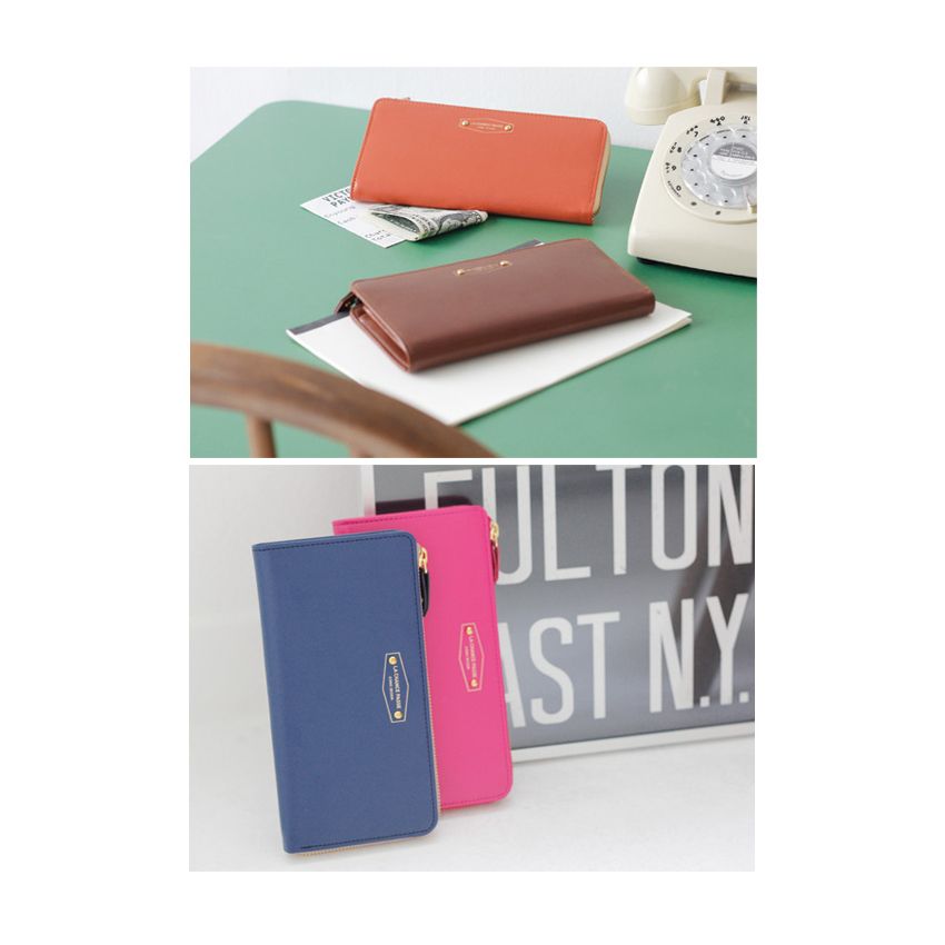 Crown Iconic Woman Long Wallet Purse Phone Card Leather Zip Gift