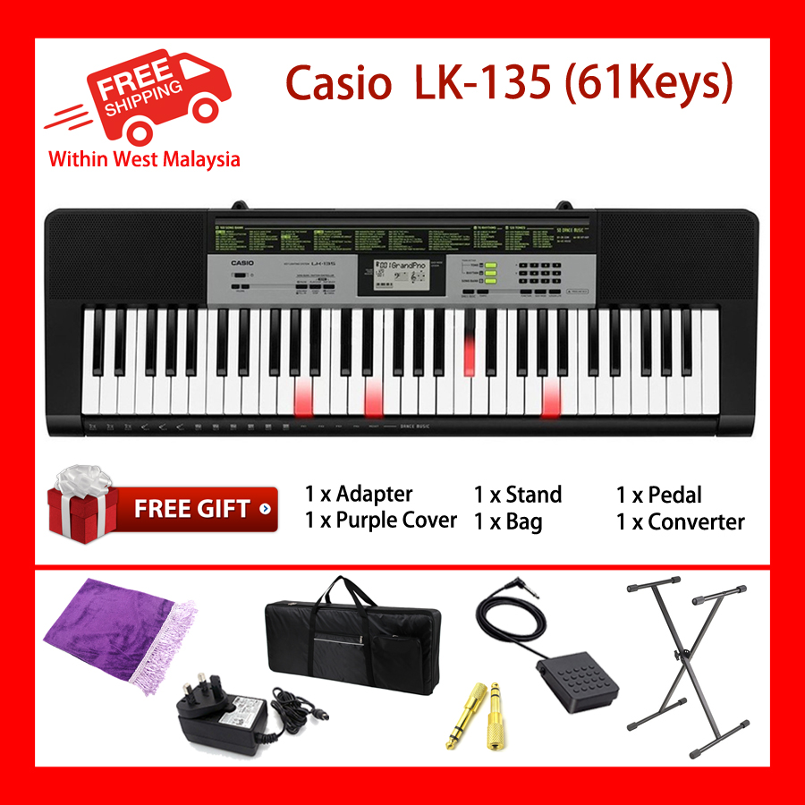 CASIO LK-135 61 Key Self Learning Lighting Portable Keyboard (LK135 LK 135)