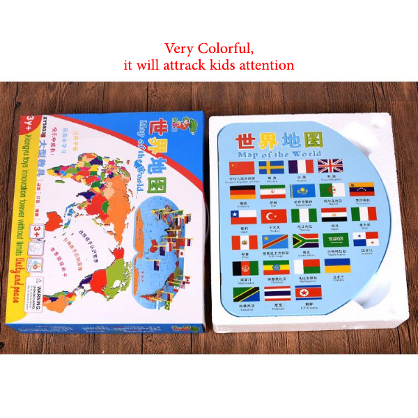 World Map Intersection 36 Flag Education Toys Early Childhood Colorful Gift New